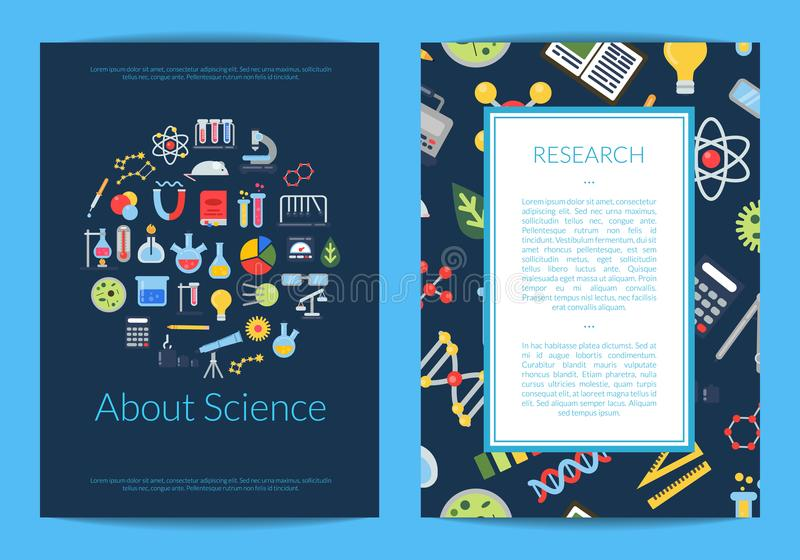 Vector Card Or Flyer Template With Flat Style Science Icons And