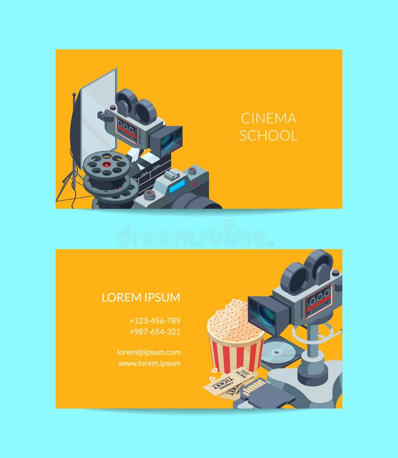 Vector cinematograph business card of set template illustration vector illustration