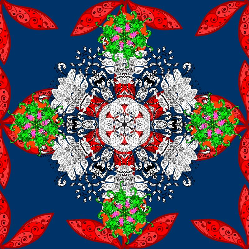 Abstract superb picture. Vector colored design abstract mandala sacred geometry illustration on a red, white and blue colors vector illustration