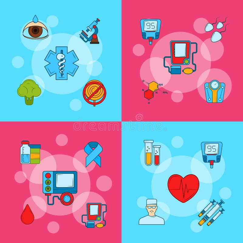 Vector colored diabetes icons infographic concept illustration stock illustration