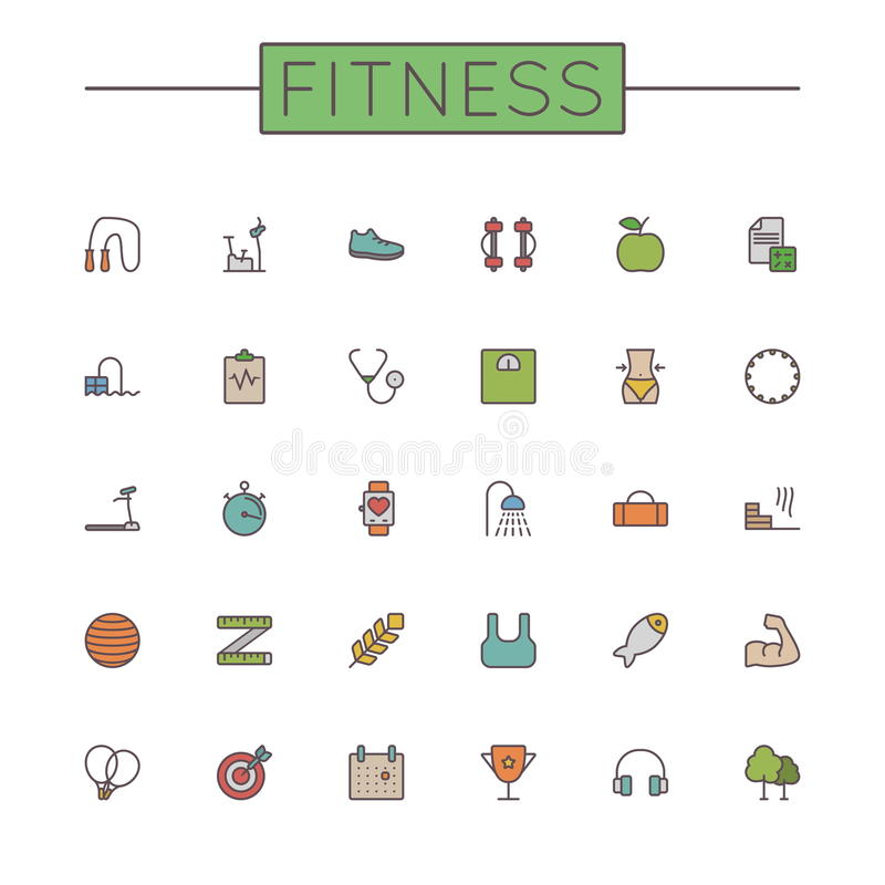 Vector Colored Fitness Line Icons royalty free illustration