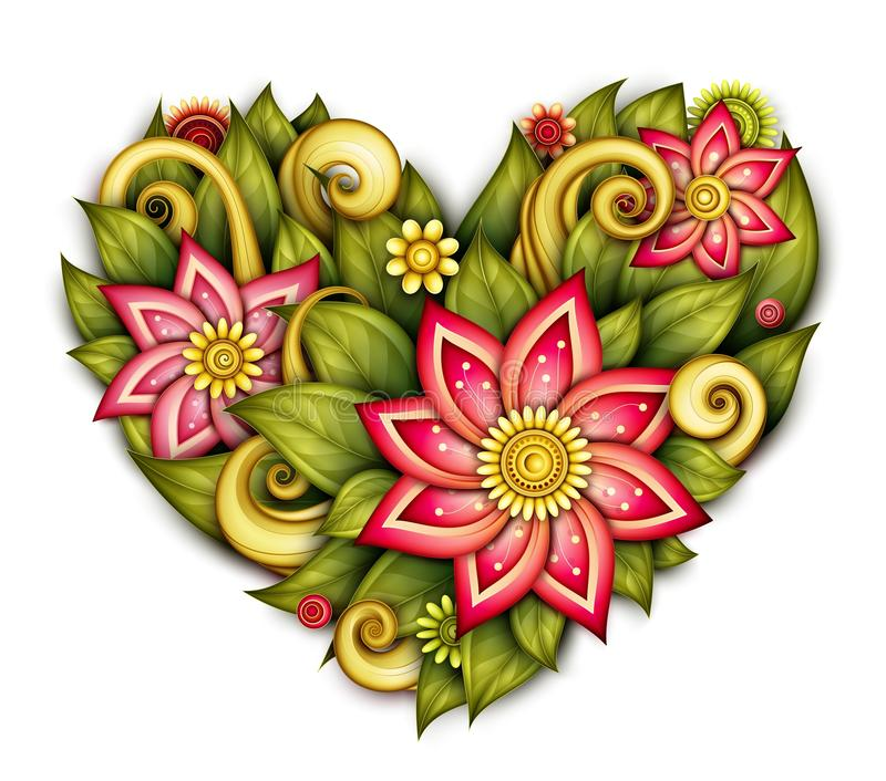 Vector Colored Floral Composition in Heart Shape vector illustration