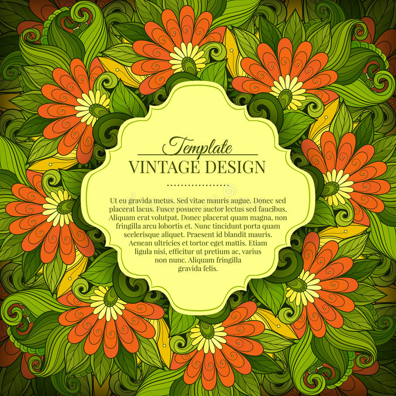 Vector Colored Floral Template with Place for Text. Abstract Flowers with Hand Drawn Ornament. Layout for Greeting Card, Cover Page etc. Clipping Mask Used for royalty free illustration