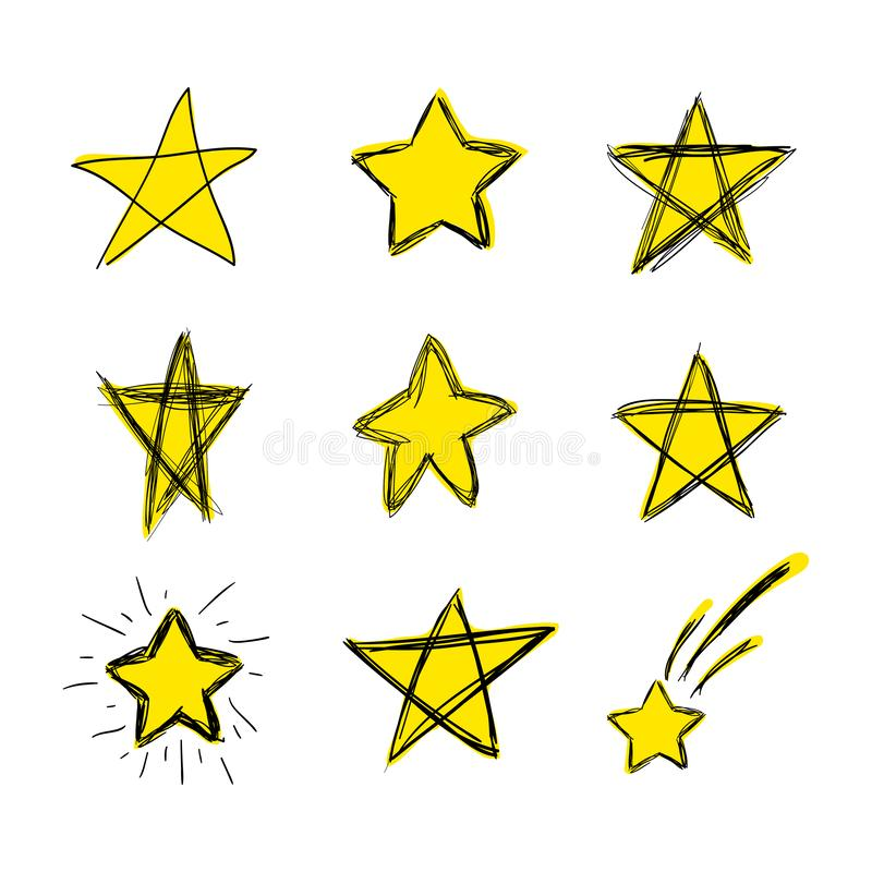 Vector Colored Hand Drawn Doodle Stars, Scribble Drawings, Bright Yellow Color, Isolated Set. stock illustration