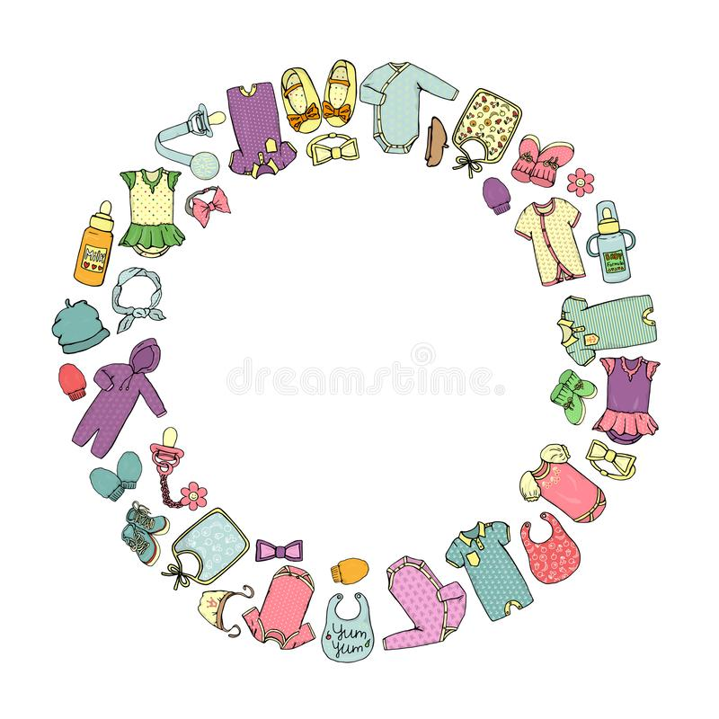 Vector colored illustration of baby clothes and accessories framed in circle royalty free illustration