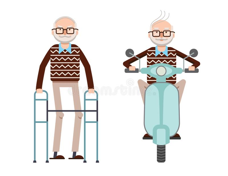 Vector colored illustration of a retired man with a cane and a retired man driving a scooter. stock illustration