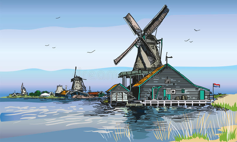 Vector colored illustration of watermill in Amsterdam. Graphic Vector hand drawing engraving colored illustration of watermill in Amsterdam Netherlands, Holland vector illustration