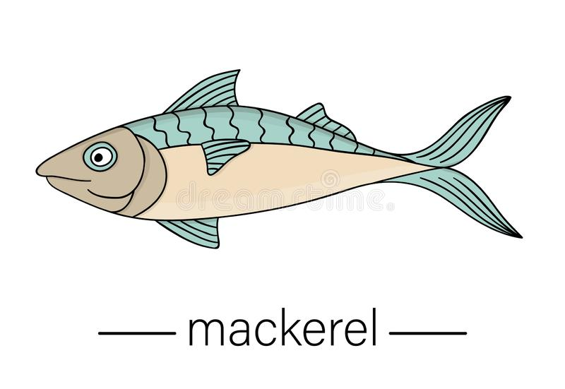 Vector colored mackerel. Cartoon style sea fish icon. stock illustration