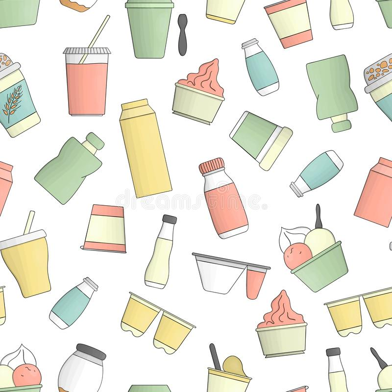 Vector colored seamless pattern of different kinds of yoghurt. royalty free illustration