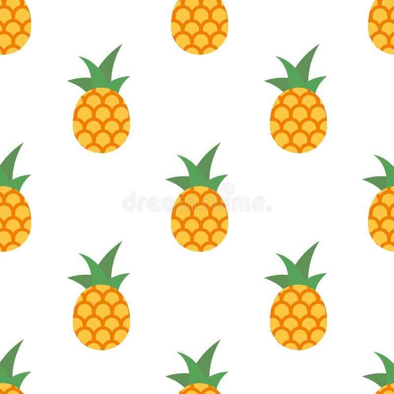 Vector seamless pineapple fruit pattern stock illustration