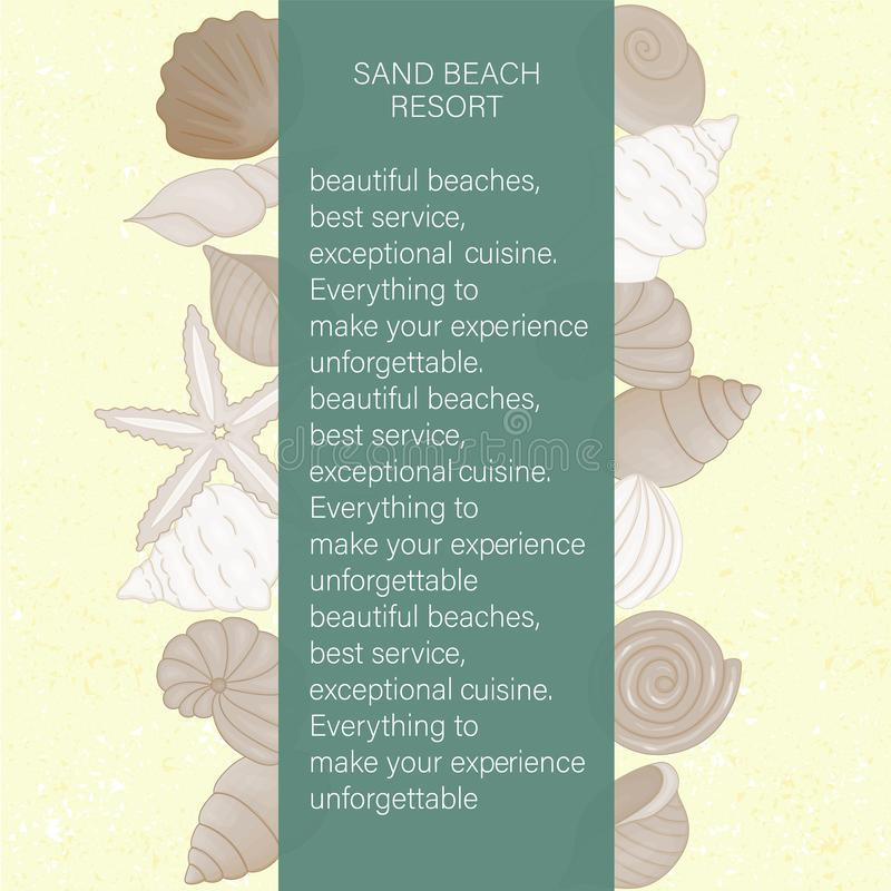 Vector colored set of seashells on yellow sand like textured background vector illustration