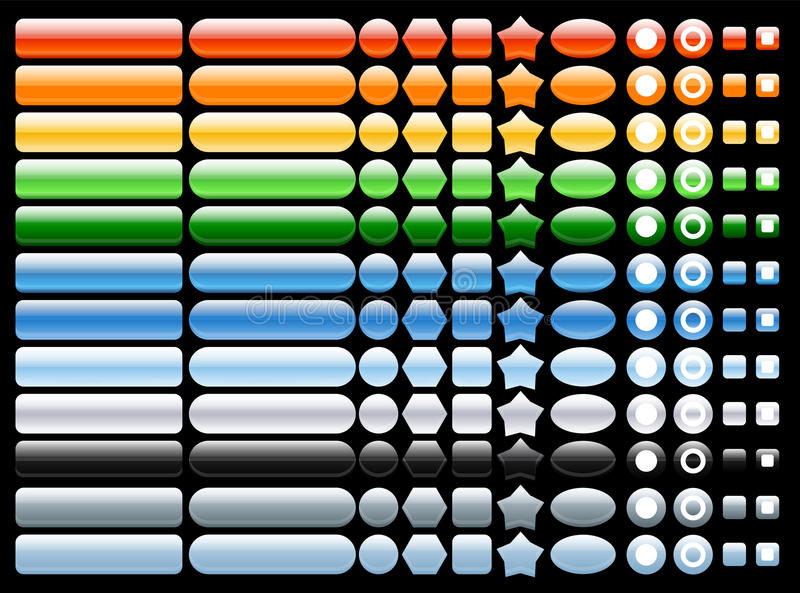 Vector Colored and shiny web buttons royalty free illustration