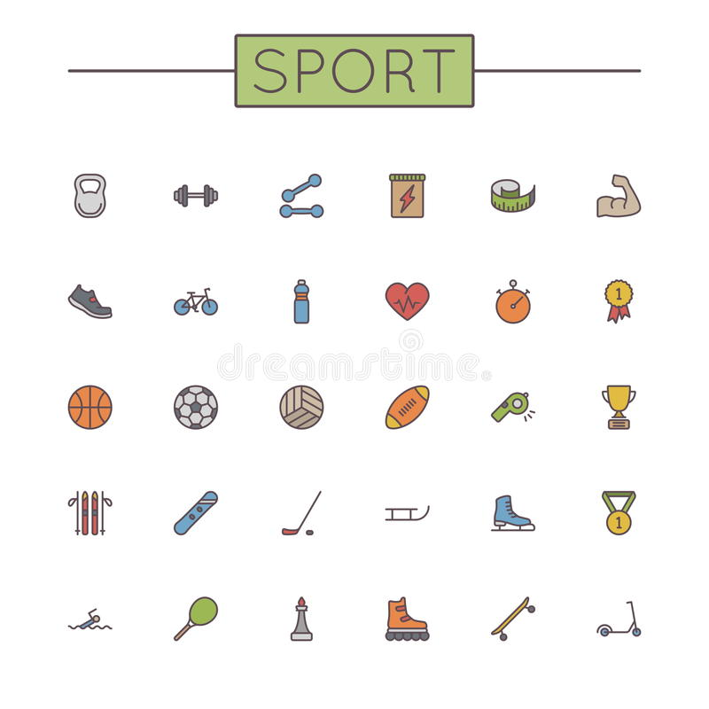 Vector Colored Sport Line Icons vector illustration