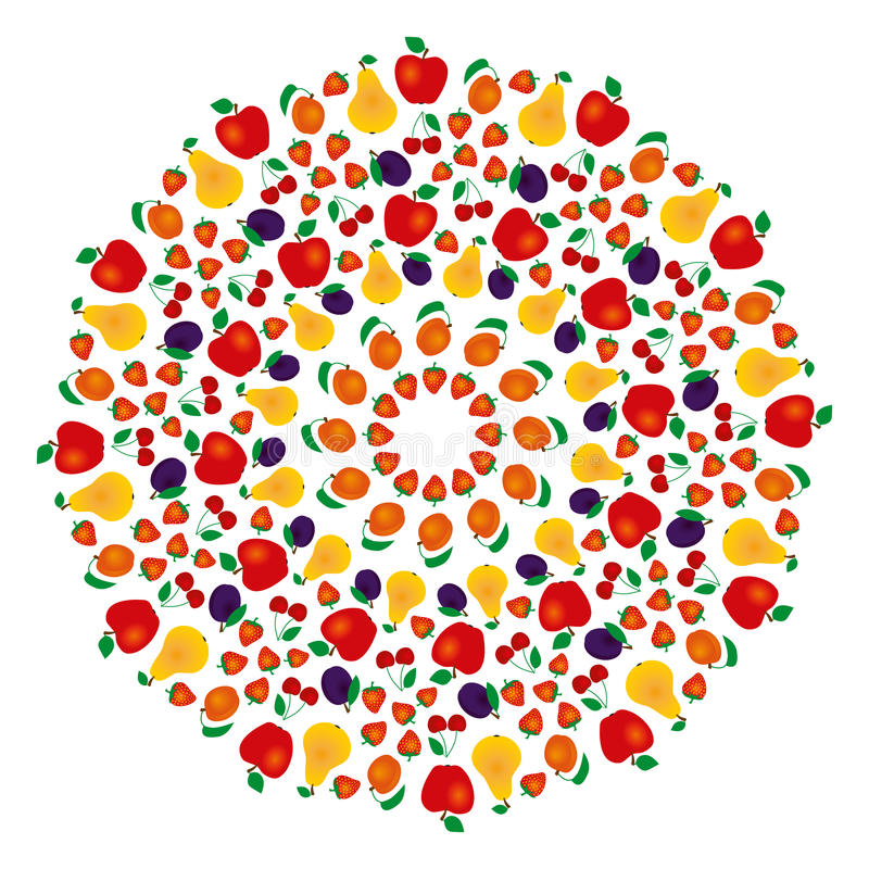 Vector colored summer fruity mandala - adult coloring book page vector illustration