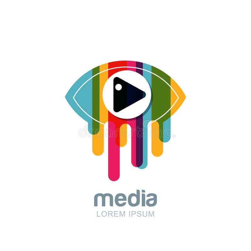 Vector colorful abstract eye logo, sign, emblem design element. Media, CCTV, television broadcast and tv design concept. Isolated icon of multicolor striped royalty free illustration