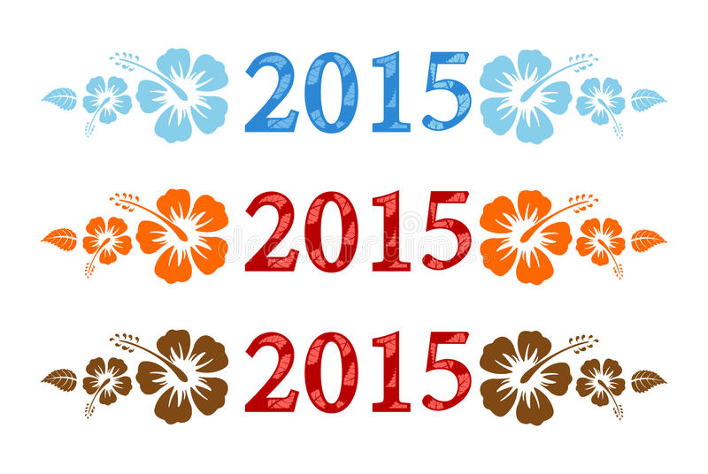 Vector colorful aloha 2015 text with hibiscus vector illustration