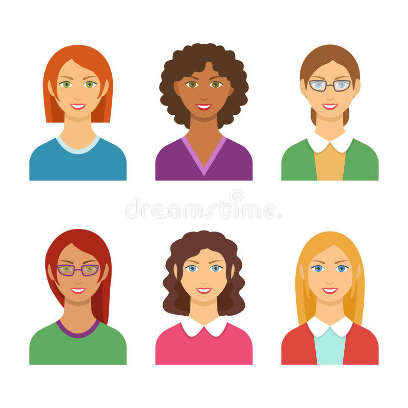 Vector colorful avatar set of pretty different nationality girls vector illustration
