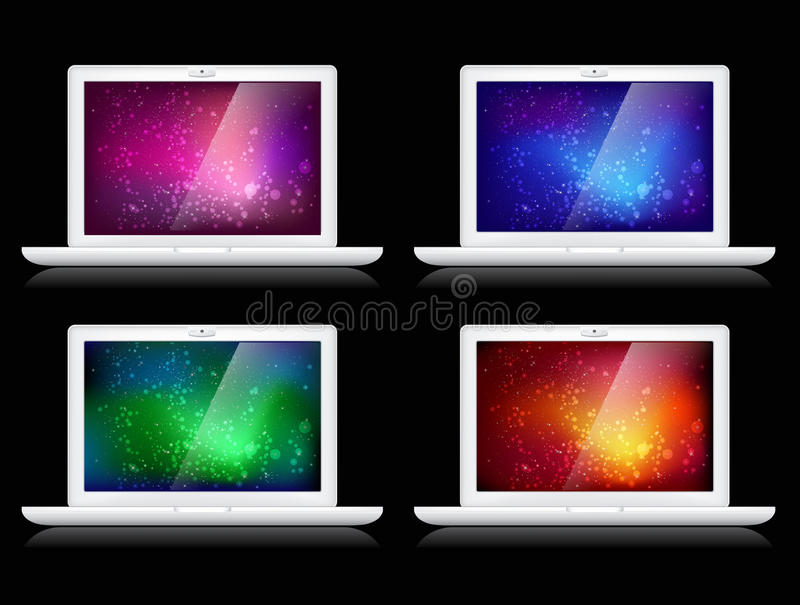 Vector Colorful Backgrounds And Laptops Royalty Free Stock Images