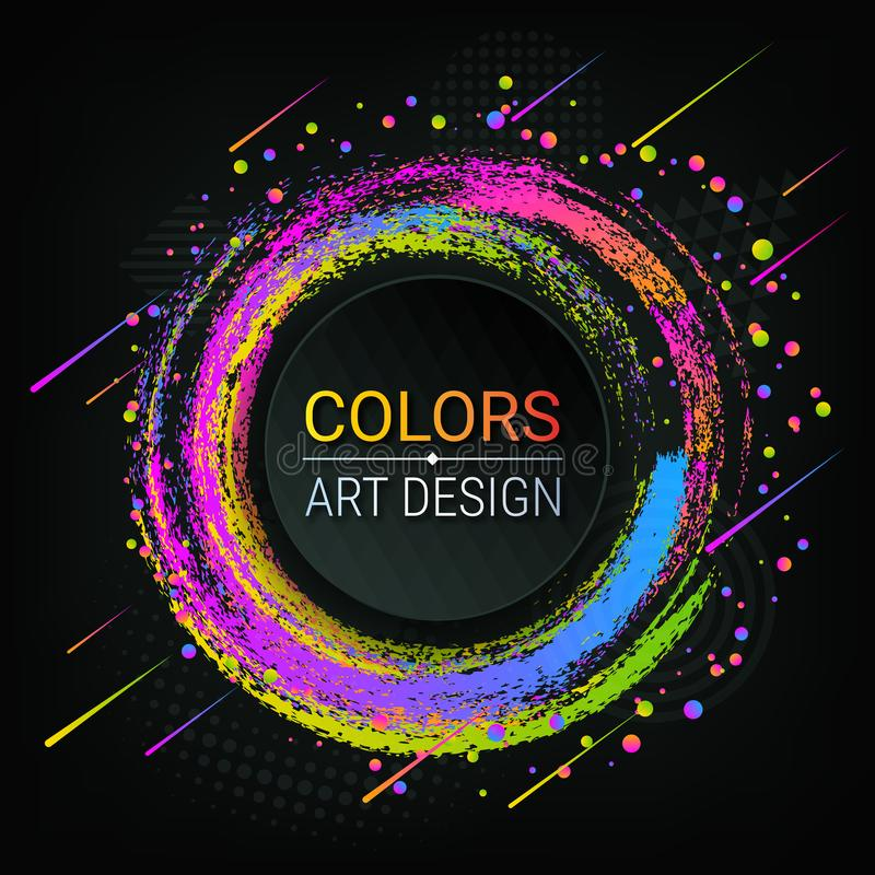 Vector colorful banner. Bright colored brush strokes. Colorful abstract circles. Grunge texture. A piece of chalk. Dark background stock illustration