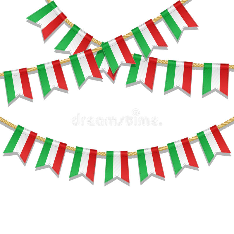 Vector colorful bunting decoration in colors of italian flag. Vector illustration for National Day of Italy on 2 June royalty free illustration