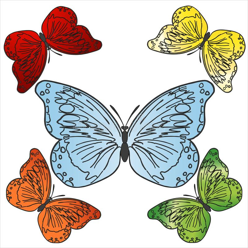 Vector colorful butterflies set