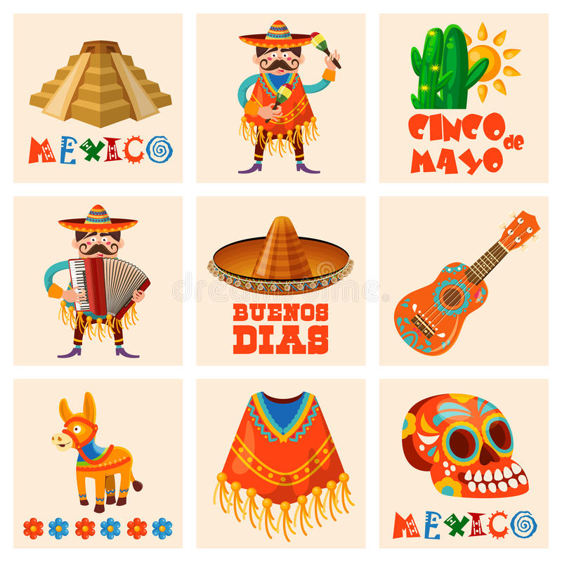 Vector colorful cards set about Mexico. Cinco de mayo. Travel poster with mexican items. royalty free illustration