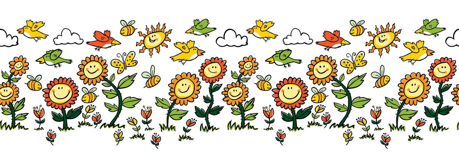 Vector colorful cartoon sunflowers, birds and bees horizontal border. Suitable for wall murals, gift warp, textile and vector illustration