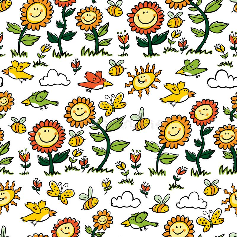Vector colorful cartoon sunflowers, birds and bees repeat pattern. Suitable for gift wrap, textile and wallpaper vector illustration