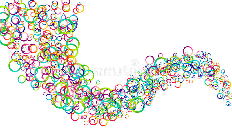 Vector colorful circles wave stock illustration