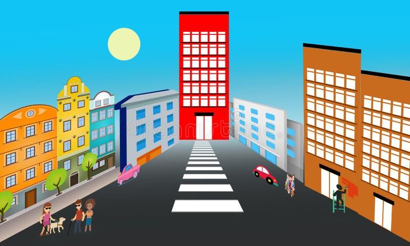 Vector Colorful Metropolis City Illustration in 3D  Modern Urban Metropolitan Landscape. A Day in a Typical modern city. vector illustration