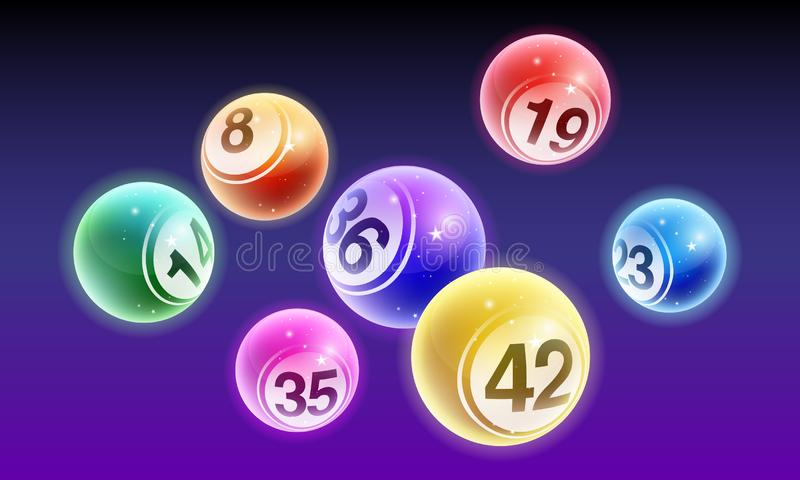 Vector crystal bingo lottery number balls set isolated on night background royalty free illustration