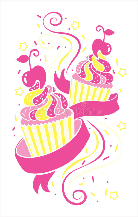Vector colorful cupcakes icons. stock photography