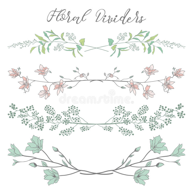 Vector Colorful Dividers with Branches, Plants and Flowers royalty free illustration