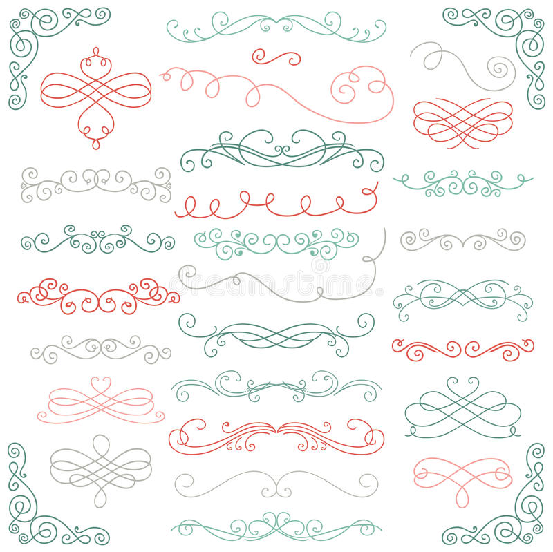 Rustic Scroll Design: Vector Colorful Doodle Hand Drawn Swirls Stock Vector