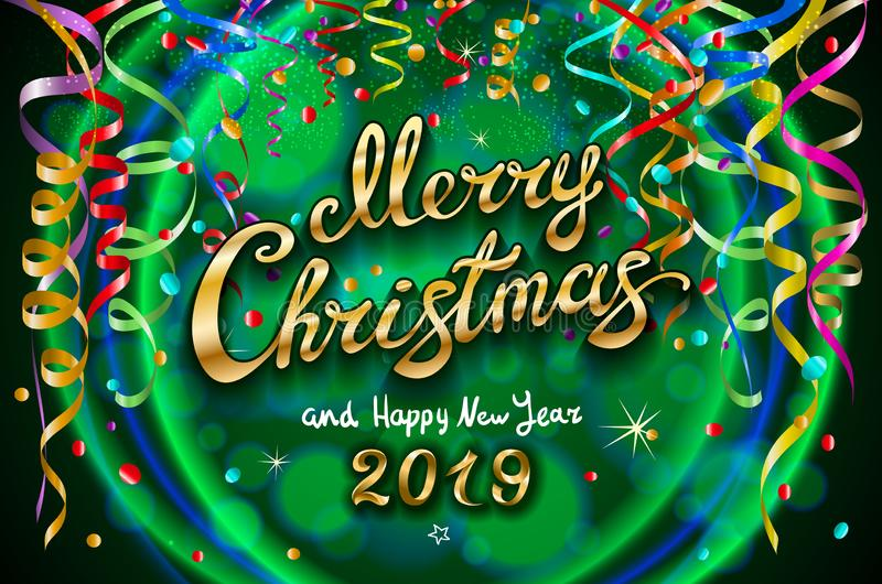 Vector Colorful festive illustration for celebratory party and decoration green background - golden Merry Christmas and Happy New royalty free illustration