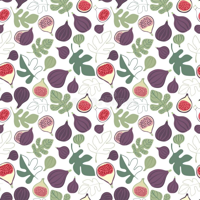 Vector colorful figs and leaves seamless repeat pattern on white background. vector illustration