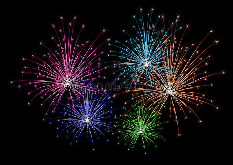 Vector colorful firework vector illustration