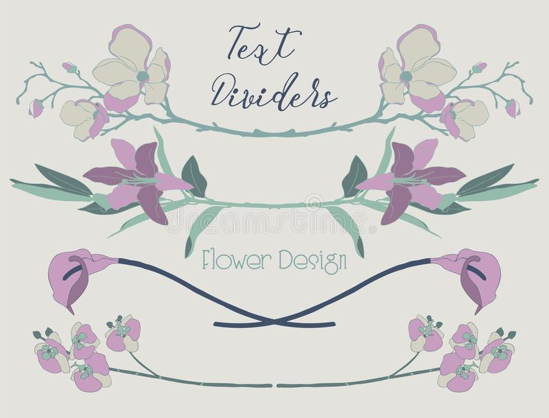 Vector Colorful Floral Text Dividers. Flower Design Elements royalty free illustration