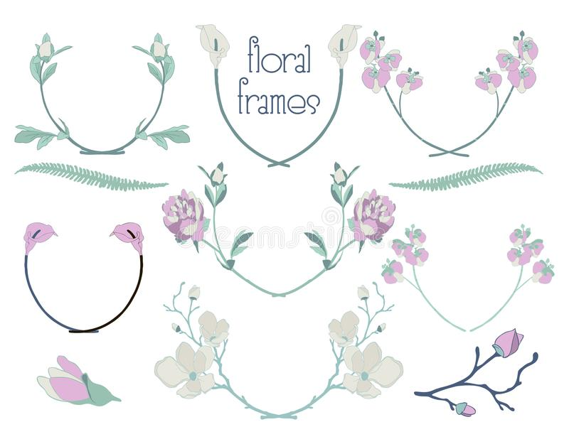 Vector Colorful Floral Text Frames, Branches, Laurels royalty free illustration