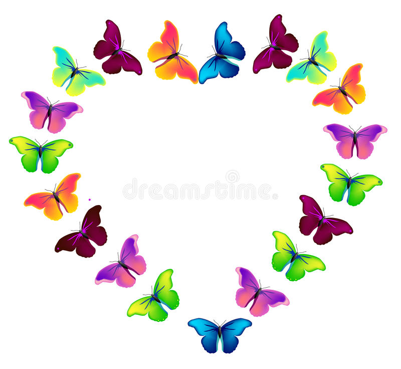 Vector colorful flying butterflies. On the heart royalty free illustration