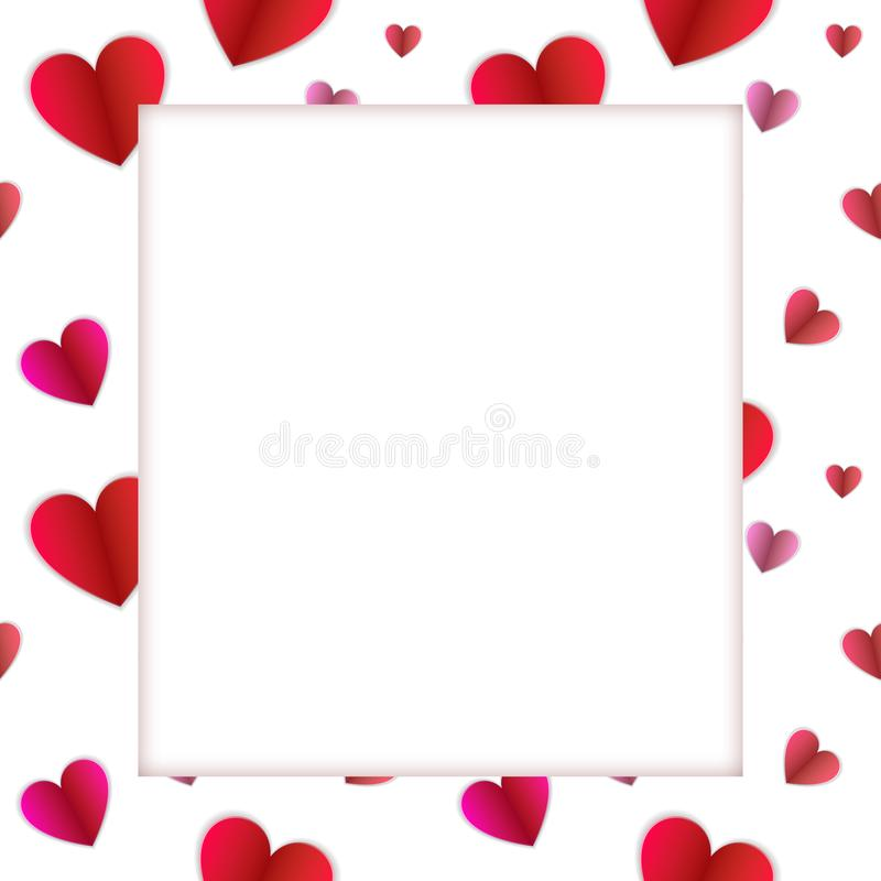 Vector Colorful Frame, Hearts Pattern Paper and White Space for Photo, Blank Border. vector illustration