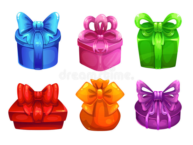 Vector colorful gift boxes with big bows stock illustration