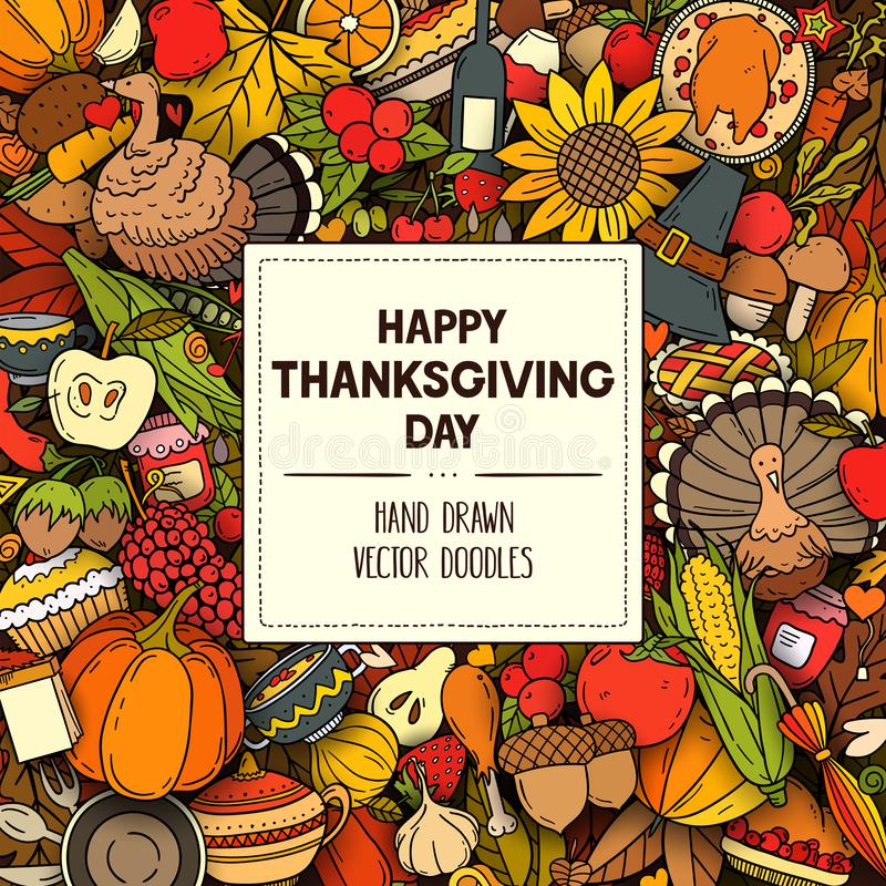 Vector colorful hand drawn banner with Thanksgiving symbols and objects royalty free illustration