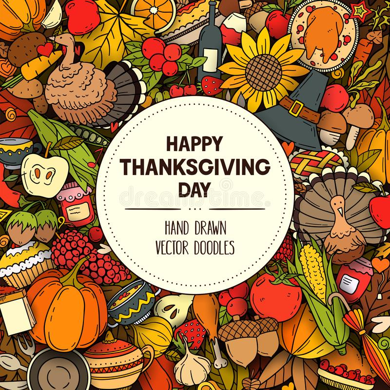 Vector colorful hand drawn banner with Thanksgiving symbols and objects vector illustration