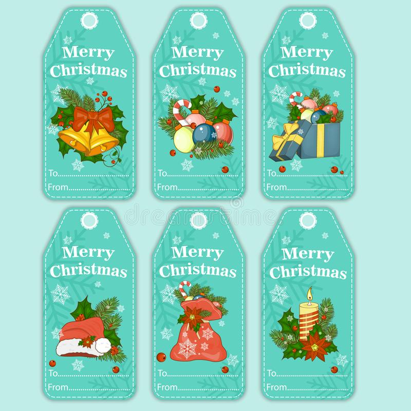 Vector colorful holiday gift tags and outline label set. Merry Christmas and Happy New Year greeting cards. stock illustration