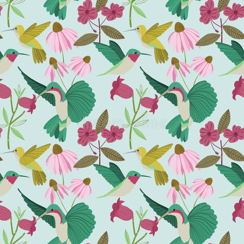 Vector colorful hummingbirds on a garden seamless pattern on light blue background stock illustration