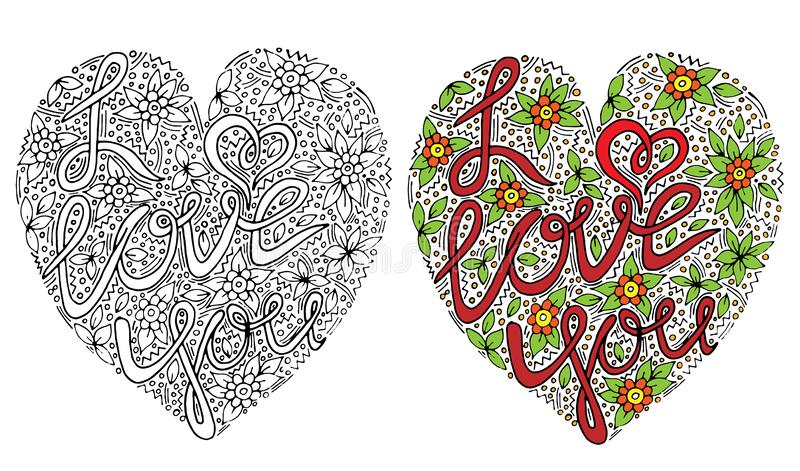 Vector colorful I love you hand written custom calligraphy isolated for coloring book. Or page, shirt and greeting card vector illustration