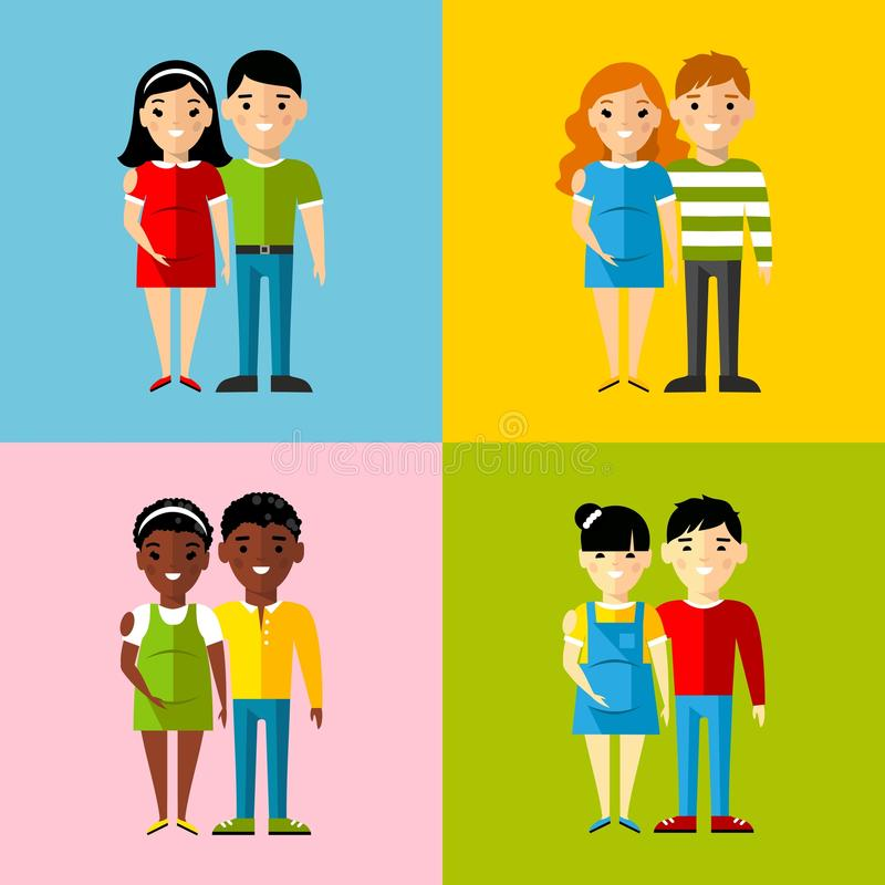 Vector colorful illustration of african american, asian, arab, european family vector illustration