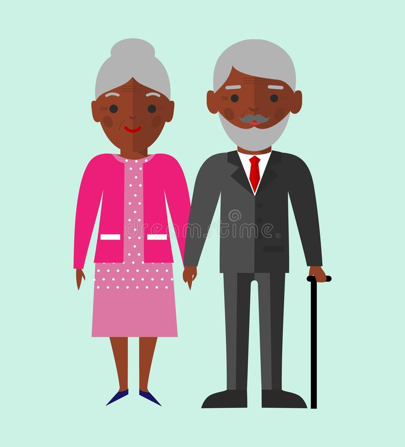Vector colorful illustration of african american old pensioner family stock illustration