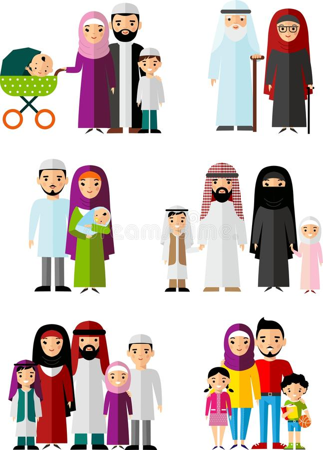 Vector colorful illustration of arab family in national clothes vector illustration